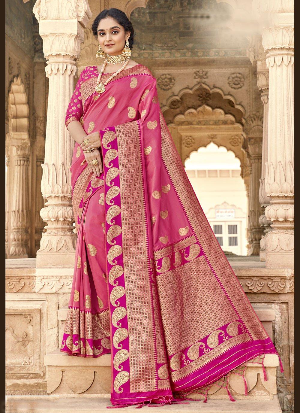 Pink Woven Classic Designer Saree