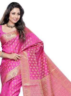 Pink Zari Silk Traditional Designer Saree