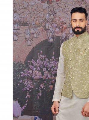 Plain Art Banarasi Silk Kurta Payjama With Jacket in Off White