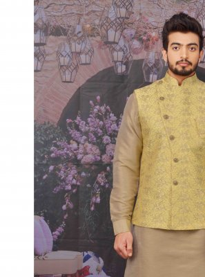 Plain Art Banarasi Silk Kurta Payjama With Jacket in Peach