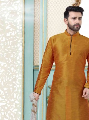 Plain Art Dupion Silk Dhoti Kurta in Yellow