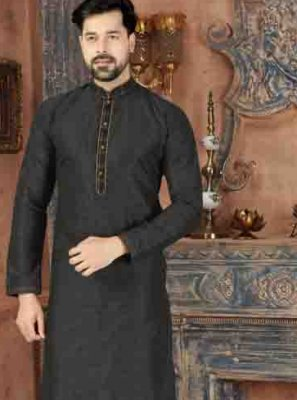 Plain Art Dupion Silk Kurta Pyjama in Black