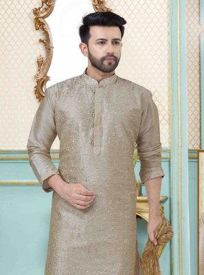 Plain Art Dupion Silk Kurta Pyjama in Grey