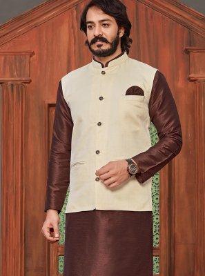Plain Art Silk Kurta Payjama With Jacket in Brown and Cream