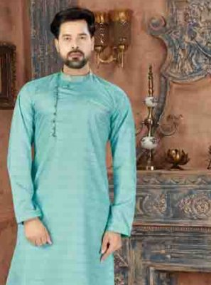 Plain Art Silk Kurta Pyjama in Green