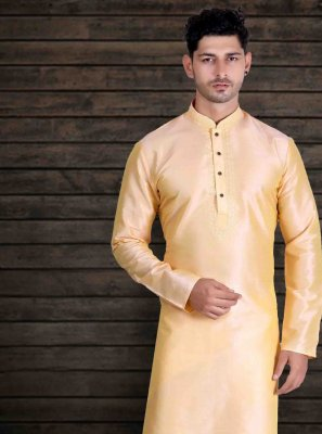 Plain Art Silk Kurta Pyjama in Yellow