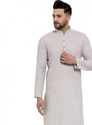 Plain Banarasi Silk Kurta Pyjama in Cream