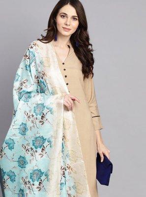 Plain Beige Designer Salwar Kameez