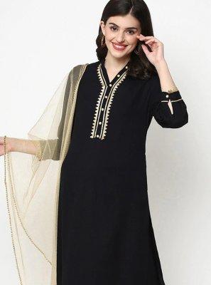 Plain Black Rayon Designer Salwar Kameez