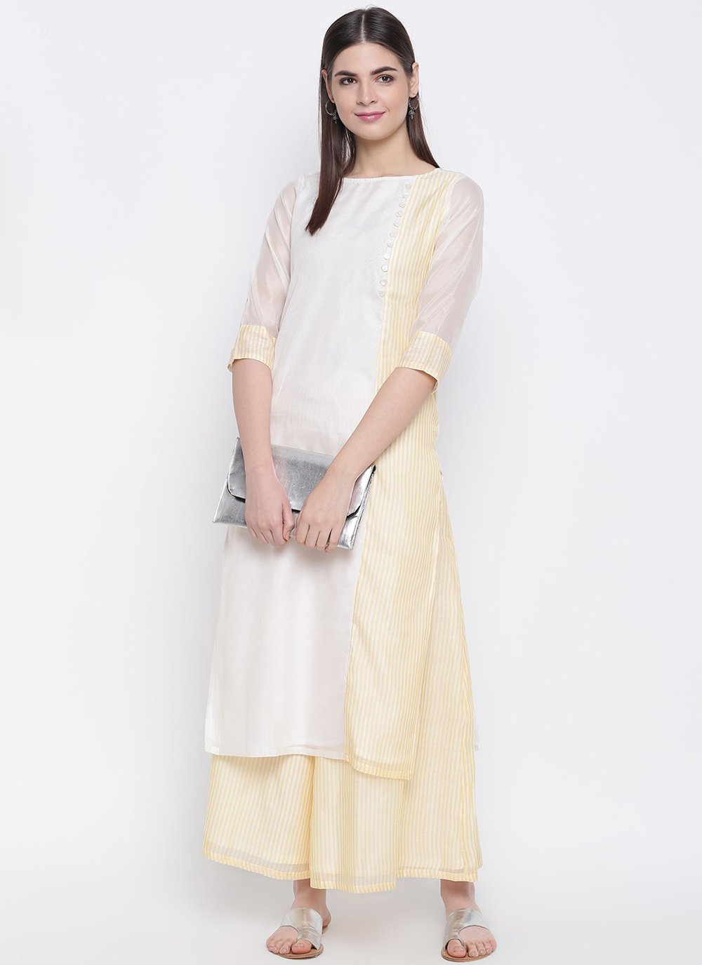 Plain Chanderi Party Wear Kurti
