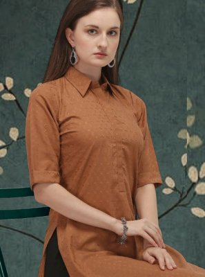 Plain Cotton Brown Casual Kurti