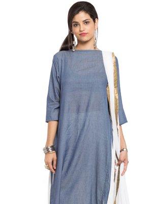 Plain Cotton Grey Readymade Churidar Salwar Kameez