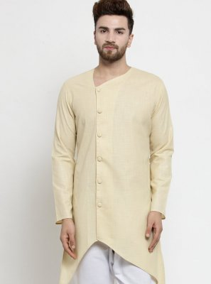 Plain Cotton Kurta Pyjama in Beige