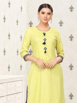 Plain Cotton Party Wear Kurti in Yellow