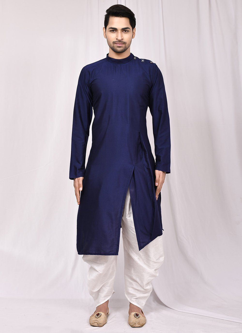 Plain Cotton Silk Indo Western in Blue