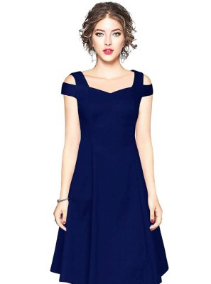 Plain Fancy Fabric Party Wear Kurti in Navy Blue