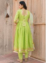 Plain Green Cotton Anarkali Salwar Kameez