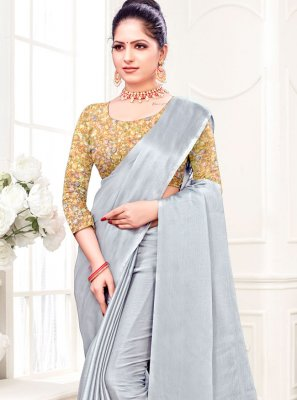 Plain Grey Fancy Fabric Trendy Saree