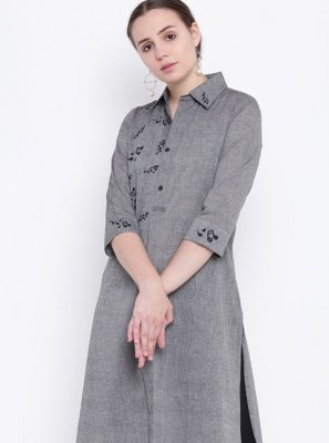 Plain Grey Party Wear Kurti