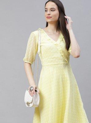 Plain Jacquard Party Wear Kurti in Yellow