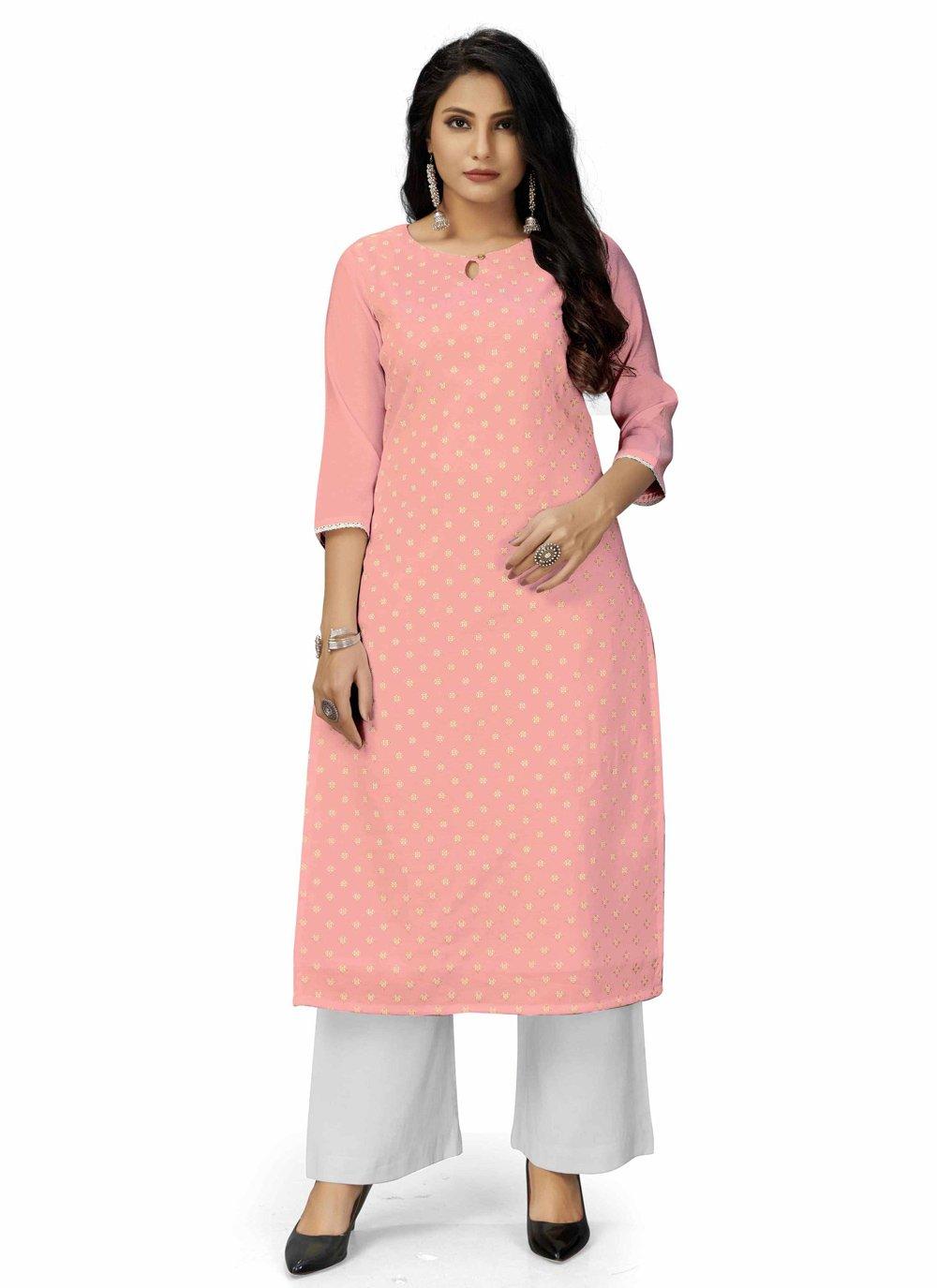 Plain Pink Designer Kurti