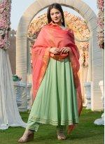 Plain Rayon Anarkali Salwar Kameez in Green