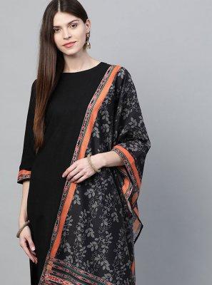 Plain Rayon Black Pakistani Salwar Suit