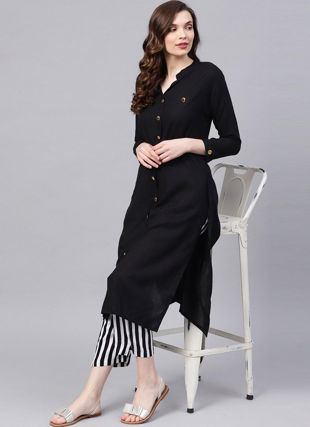 Plain Rayon Party Wear Kurti in Black