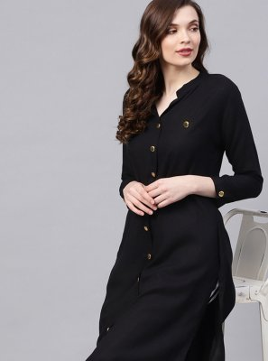 Plain Rayon Party Wear Kurti in Black