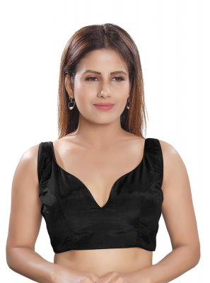 Plain Silk Designer Blouse in Black