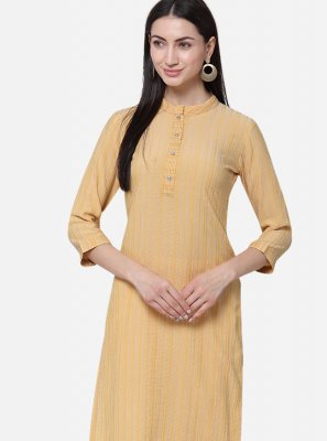 Plain Yellow Viscose Casual Kurti