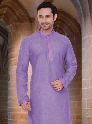 Poly Cotton Kurta Pyjama in Purple