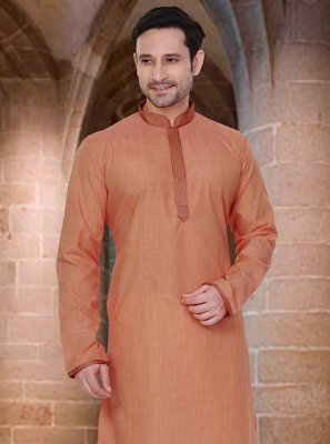 Poly Cotton Orange Plain Kurta Pyjama