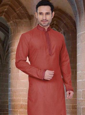 Poly Cotton Plain Red Kurta Pyjama