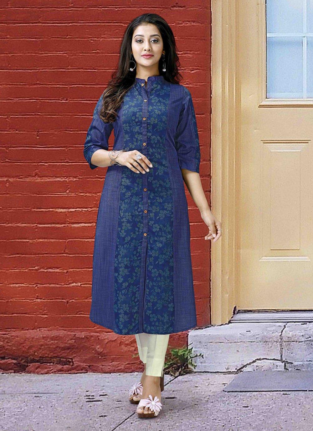 Poly Cotton Printed Blue Designer Kurti