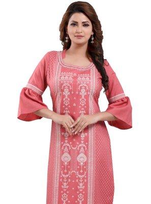 Poly Cotton Printed Pink Designer Kurti