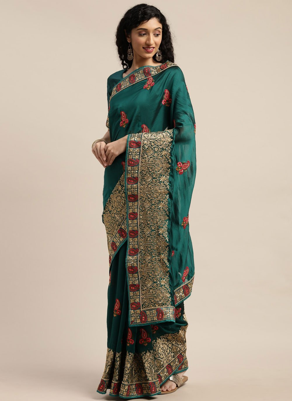 Poly Cotton Teal Patch Border Traditional Saree
