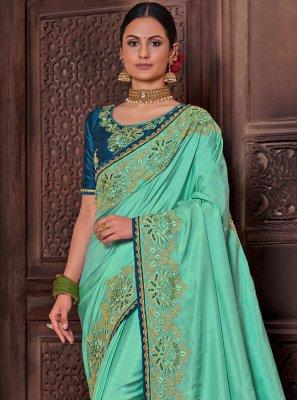 Poly Silk Aqua Blue Designer Traditional Saree