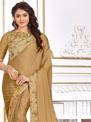 Poly Silk Beige Traditional Designer Saree