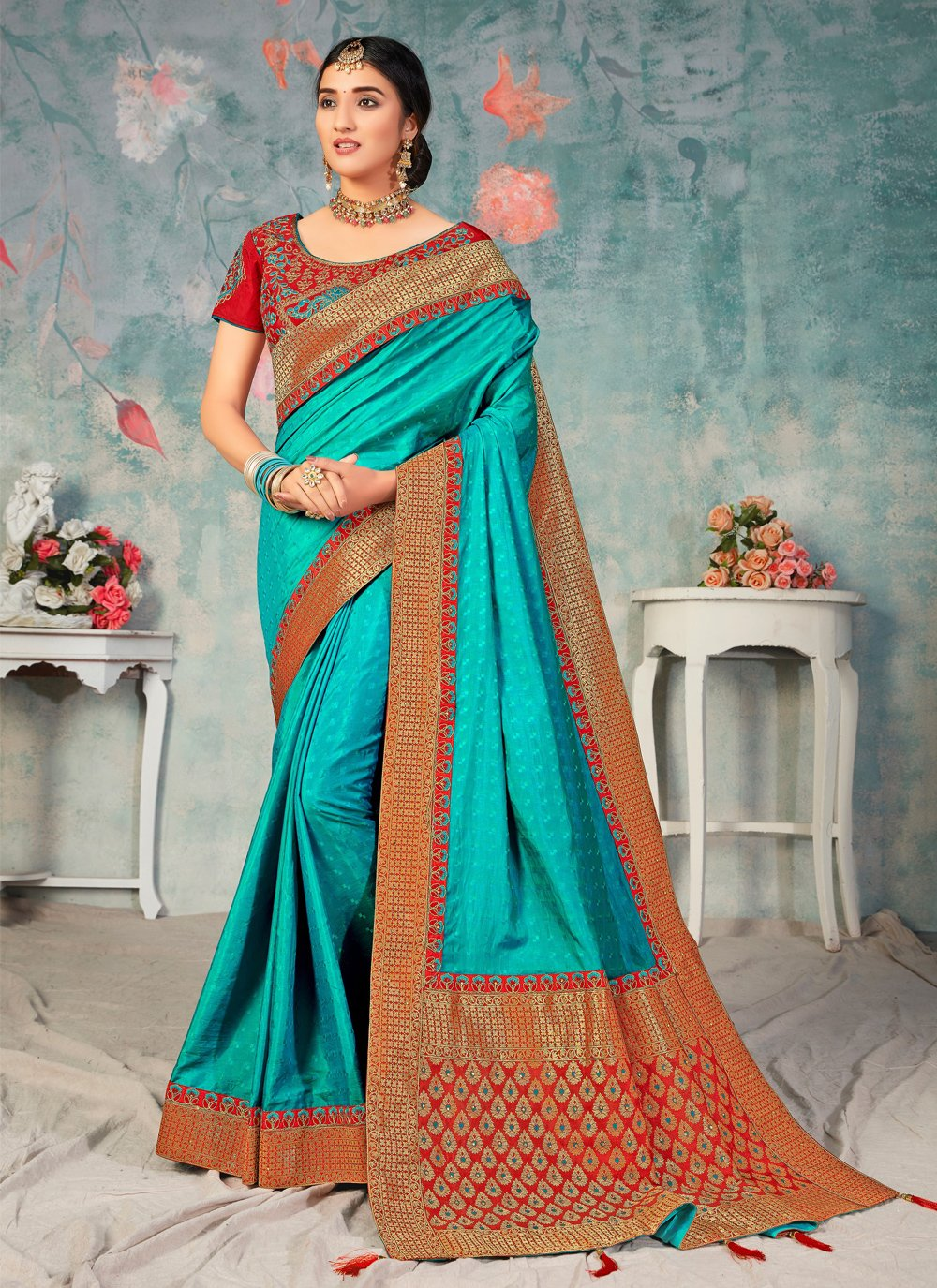 Poly Silk Blue Embroidered Traditional Saree