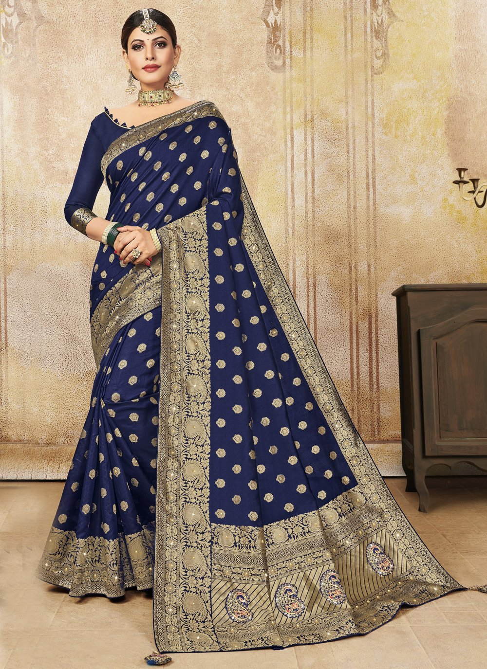 Poly Silk Blue Traditional Saree
