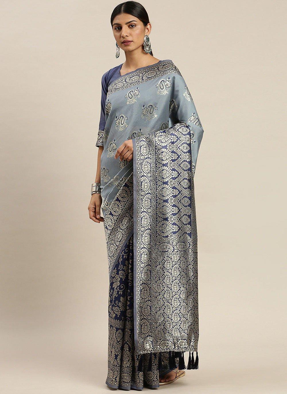 Poly Silk Blue Weaving Designer Traditional Saree