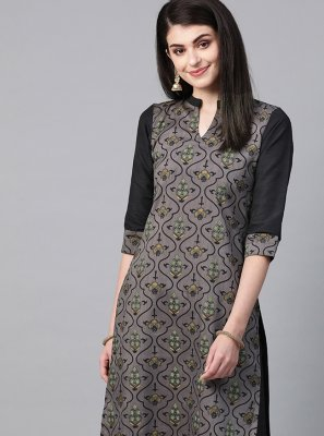 Poly Silk Casual Kurti in Grey