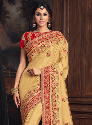 Poly Silk Designer Traditional Saree in Gold