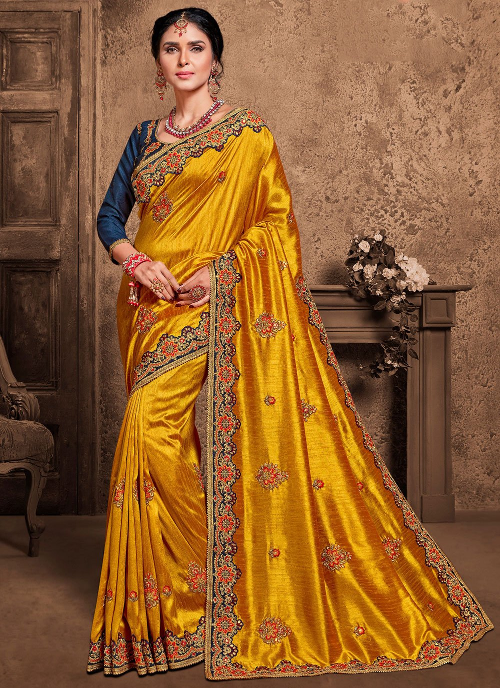 Poly Silk Embroidered Designer Saree in Yellow