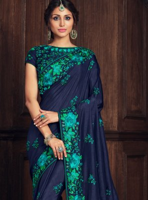 Poly Silk Embroidered Designer Traditional Saree in Blue