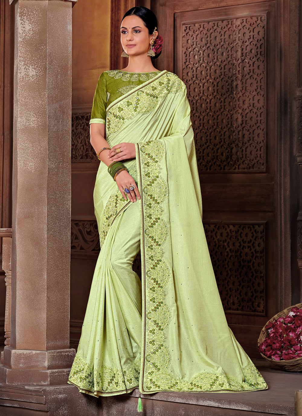 Poly Silk Embroidered Green Classic Designer Saree