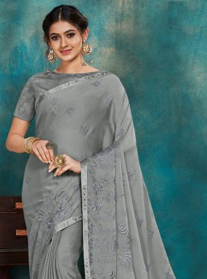 Poly Silk Embroidered Grey Designer Traditional Saree