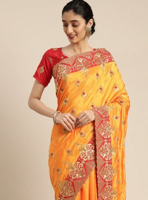 Poly Silk Embroidered Mustard Designer Traditional Saree