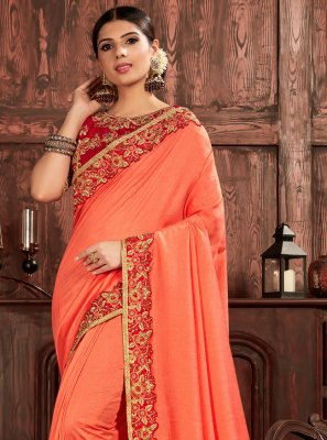 Poly Silk Embroidered Traditional Saree in Peach